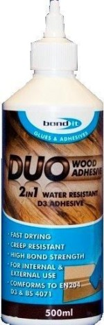 Medienos klijai BOND IT D3 DUO 2 IN 1 WOOD GLUE, 1 l
