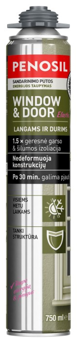Pistoletinės sandarinimo putos PENOSIL WINDOW & DOOR ELASTIC, 750 ml